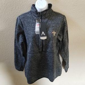 New Orleans Saints Antigua Fleece Pullover Size L